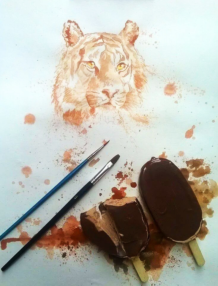 Ice Cream Paint Othman Toma Tiger Chocolate illustration