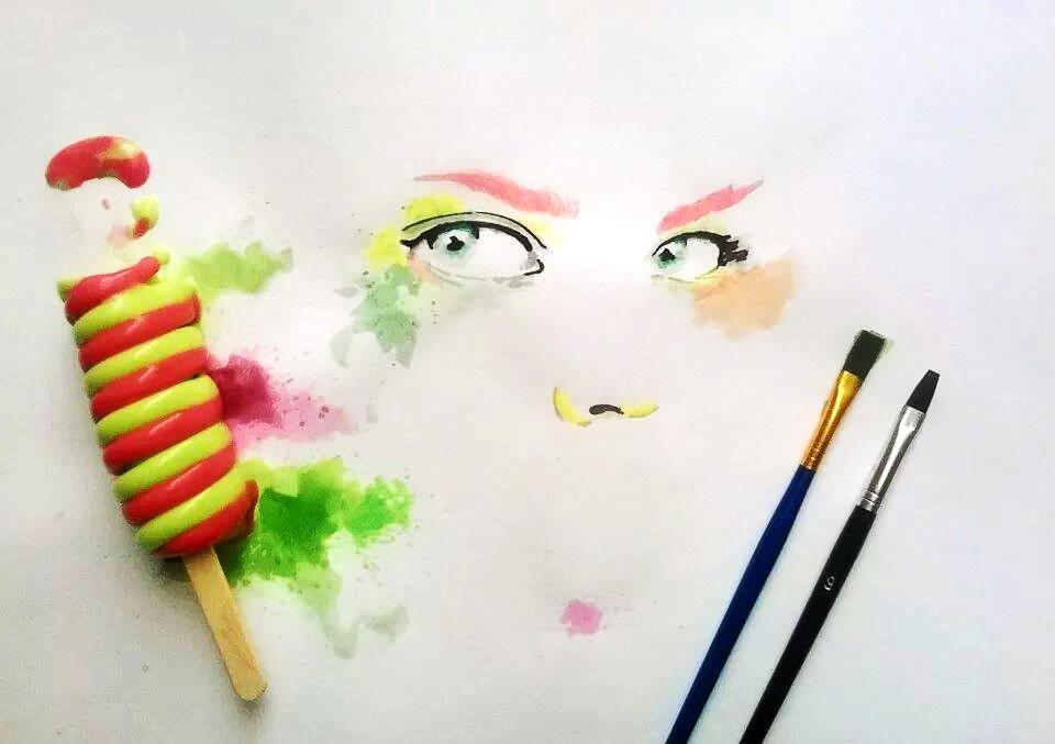 Ice Cream Paint Othman Toma Eyes Colorful Illustration