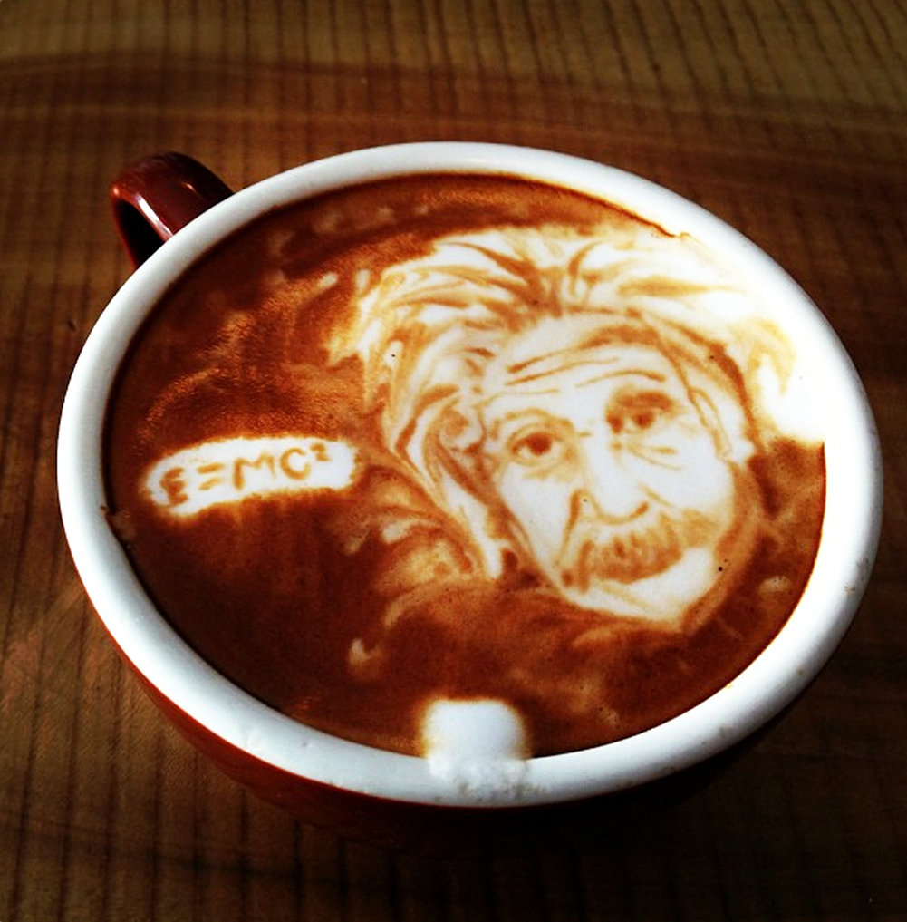Coffee Art Selfie Michael Breach Albert Einstein