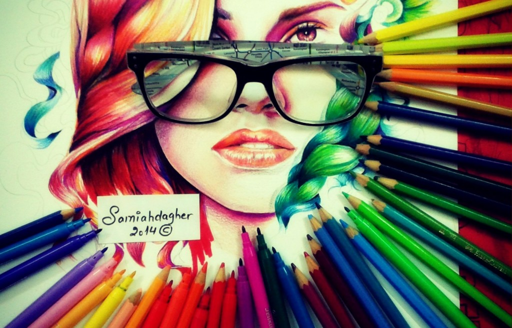 Samia Dagher illustration Colorful woman